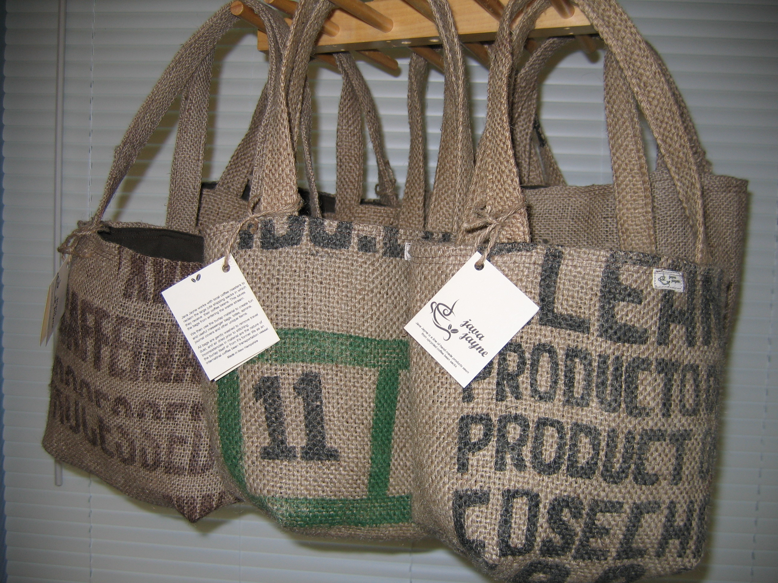 b1a242abd3 Mini Tote Bags made from recycled burlap coffee sacks – Java Jayne